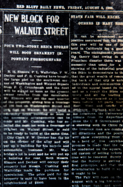 1906 New Block for Walnut Street - Red Bluff Daily News