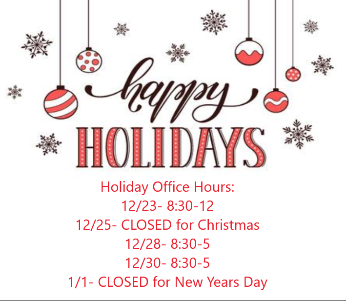 Holiday Hours Are Here!