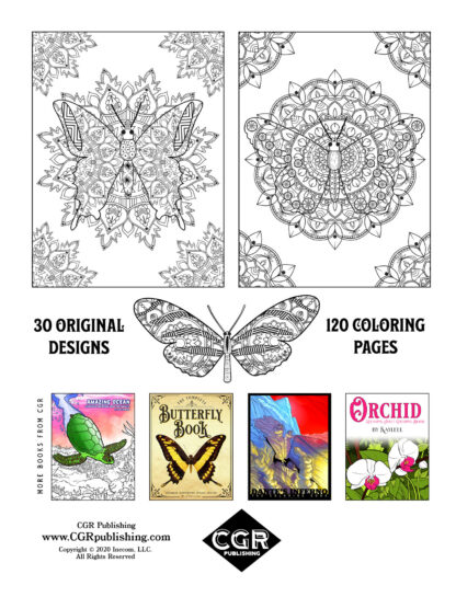 Relaxing Butterflies: Deluxe Butterfly Mandala Coloring Book Back Cover