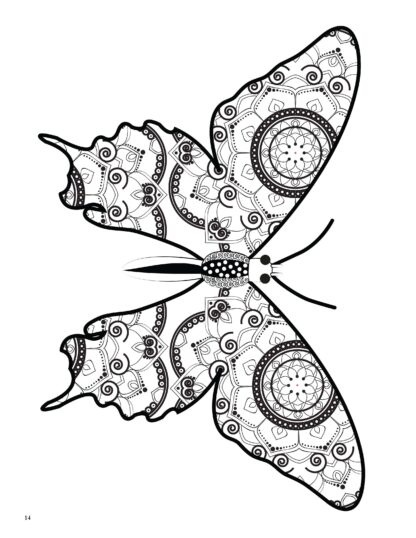 Relaxing Butterflies: Butterfly Mandala Coloring Book image 3