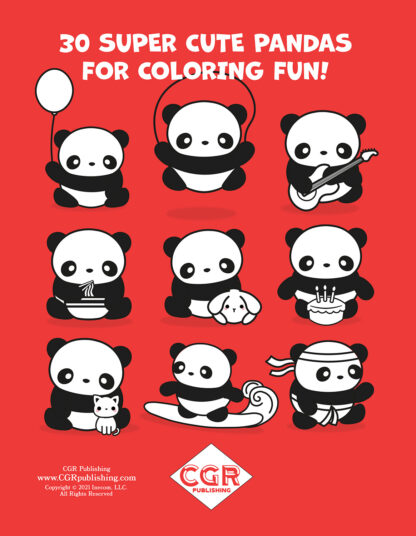 Super Cute Kawaii Panda Coloring Book: Mega Adorable Edition Back Cover