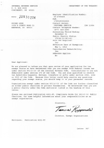 Official 501C3 IRS letter