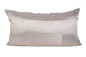 Soft Silver TheraPocket® Silk pillowcase Shown in King size