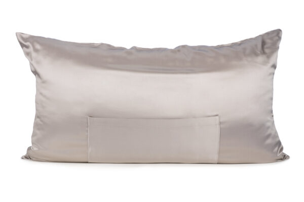 Soft Silver TheraPocket® Silk pillowcase Show in King size