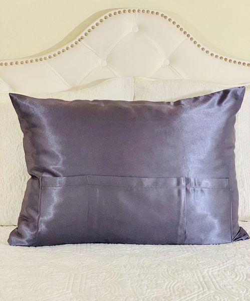 Dark Grey Satin TheraPocker® With Lux Plush hot cold pack to soothe and help you rest