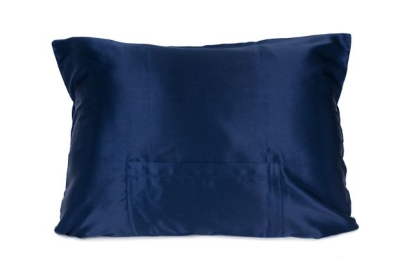 Classic Navy Satin pillowcase TheraPocker® With Lux Plush hot cold pack to soothe and help you rest by Lux Pillows Plus