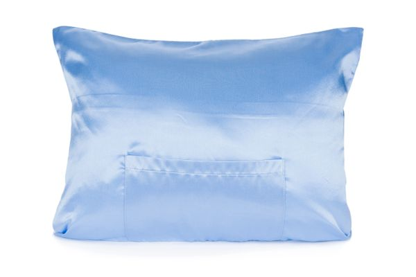 Crystal Blue Satin TheraPocker® With Lux Plush hot cold pack to soothe and help you rest Pillows Plus LLC