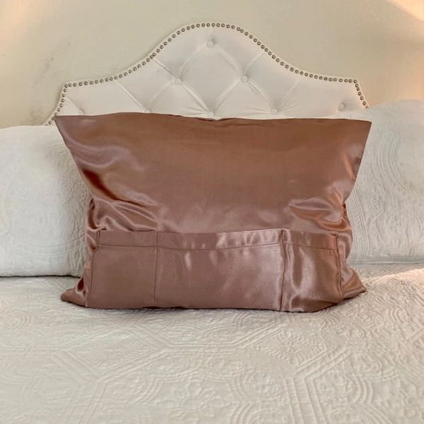 Mocha Taupe Satin TheraPocker® With Lux Plush hot cold pack to soothe and help you rest