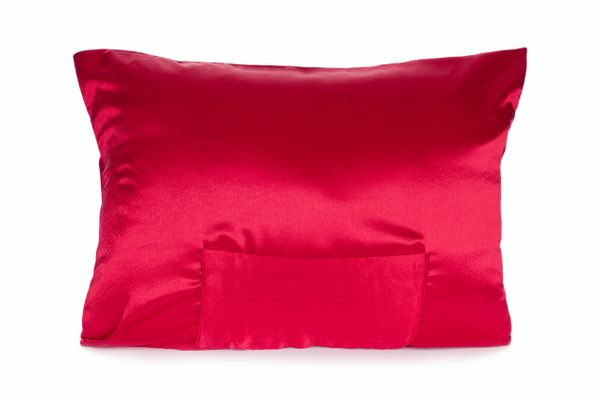 Ruby Red Satin pillowcase TheraPocker® With Lux Plush hot cold pack to soothe and help you rest Lux Pillows Plus LLC
