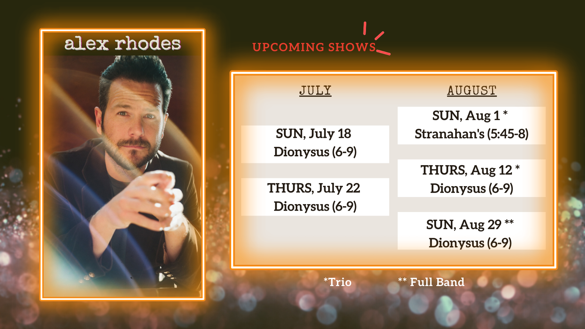 Upcoming Shows - Alex Rhodes Show
