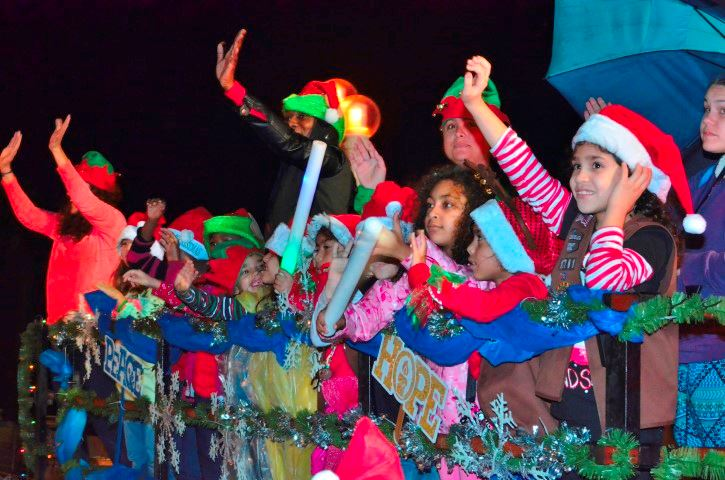 Kids dressed in Christmas gear at the Hollywood Candy Cane Parade