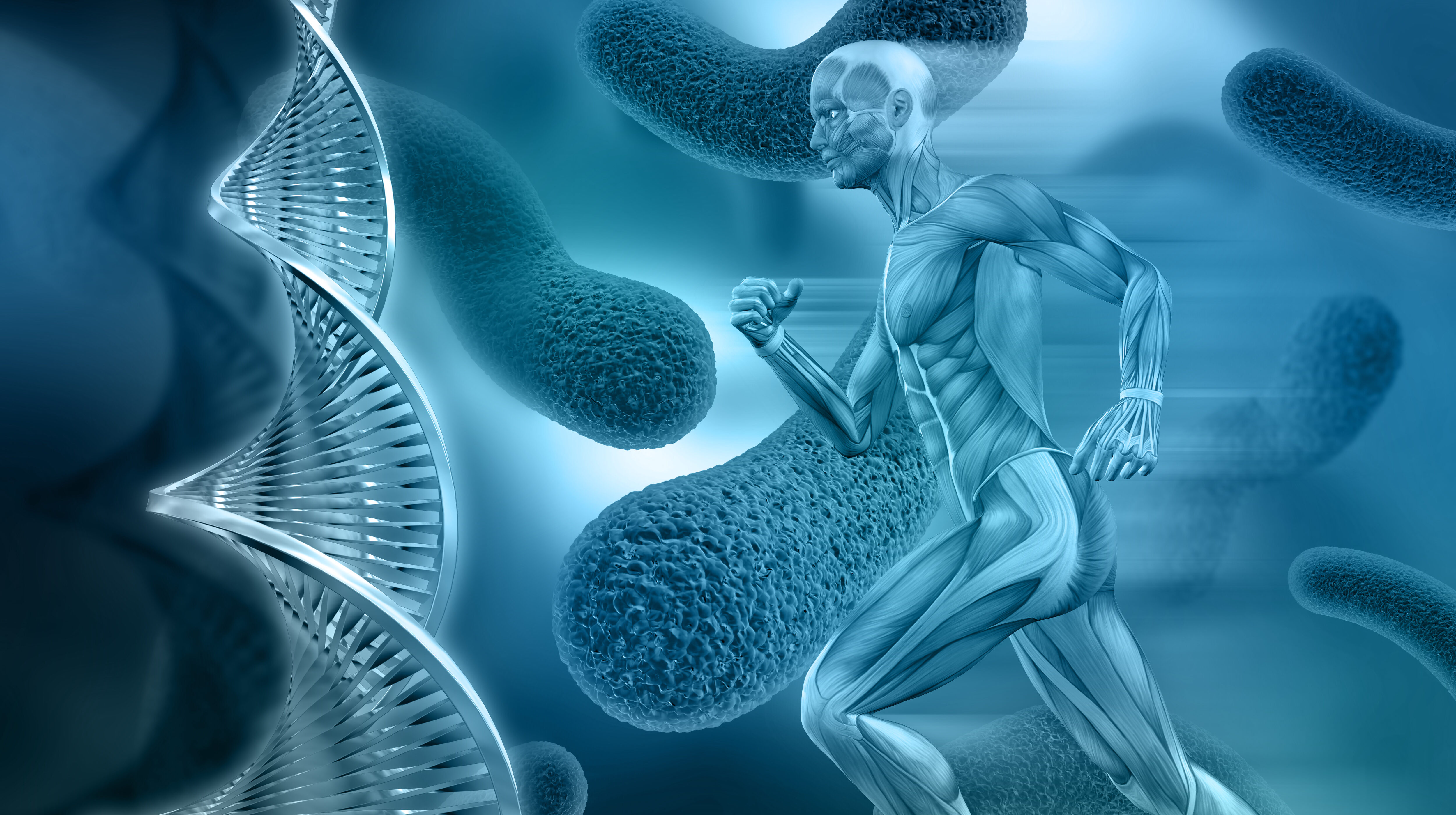 3D male medical figure with muscle map on an abstract virus background with DNA strands