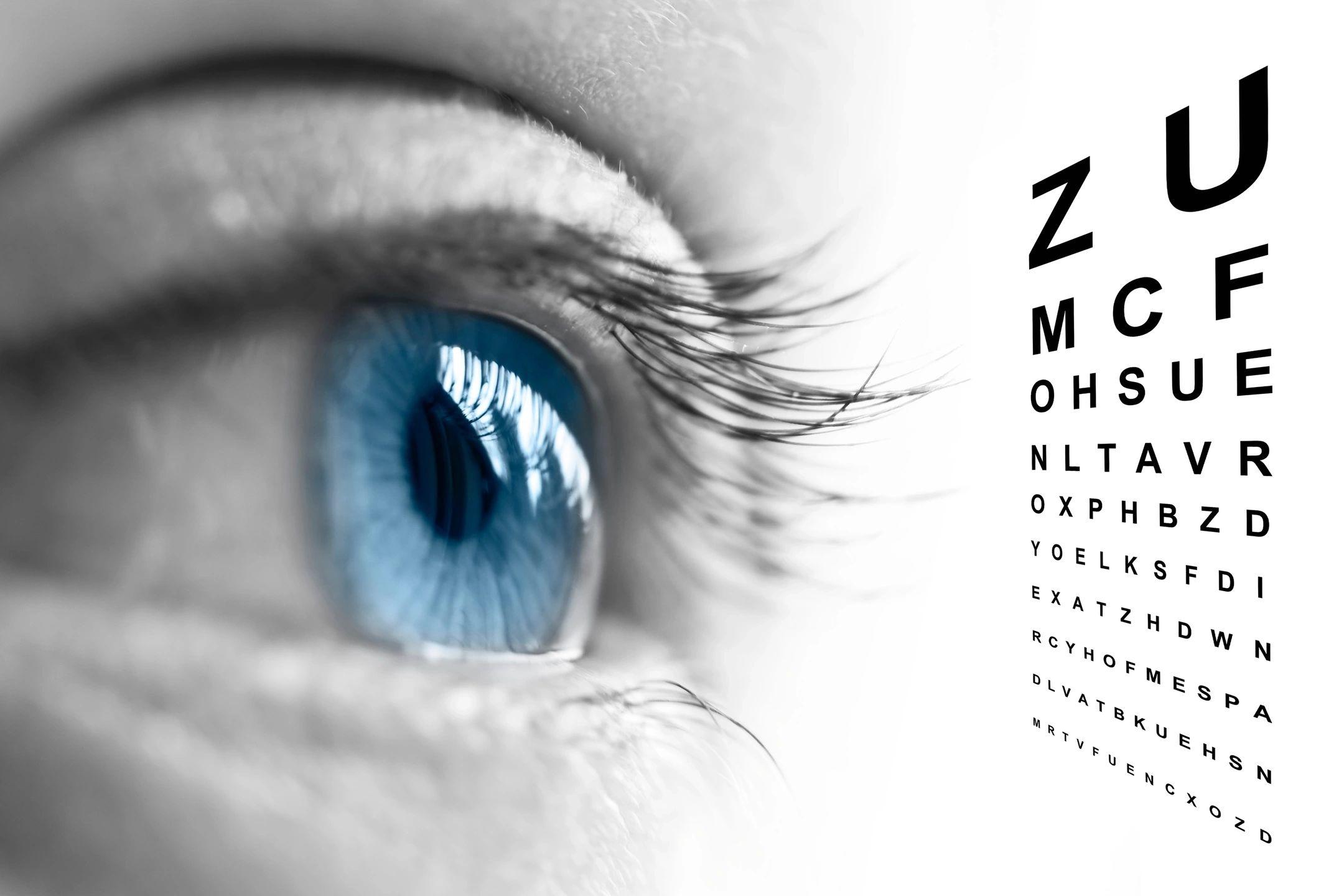 Eye looking at eye chart
