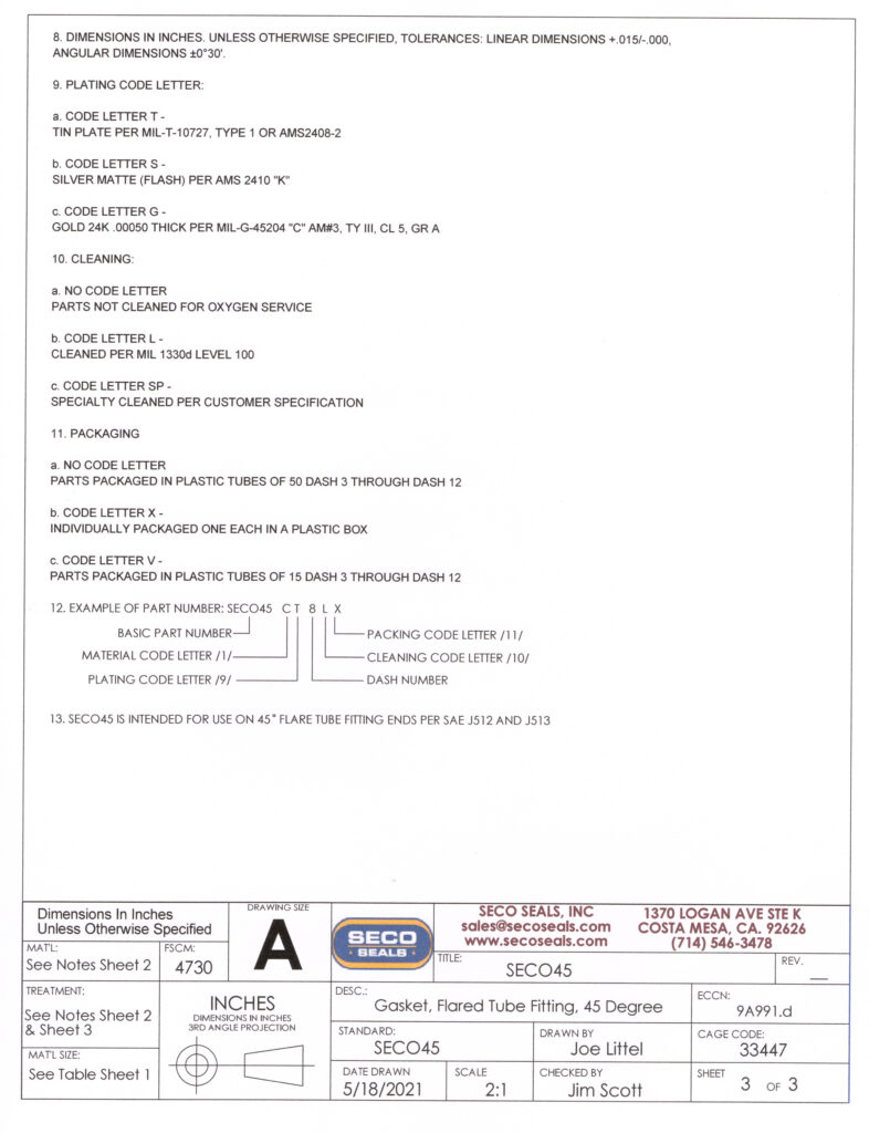 SECO45 Flared Tube 45 Degree Gasket - Page 3 of Engineering Drawing