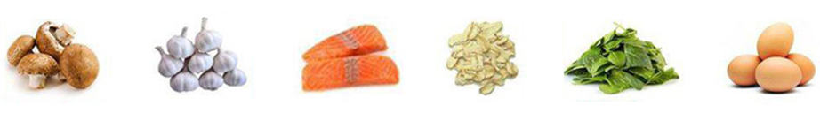 Some of the foods that contain selenium are mushrooms, garlic, salmon, grains, spinach and eggs