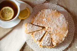 delicious ricotta cheese and pear pie with a cup of tea