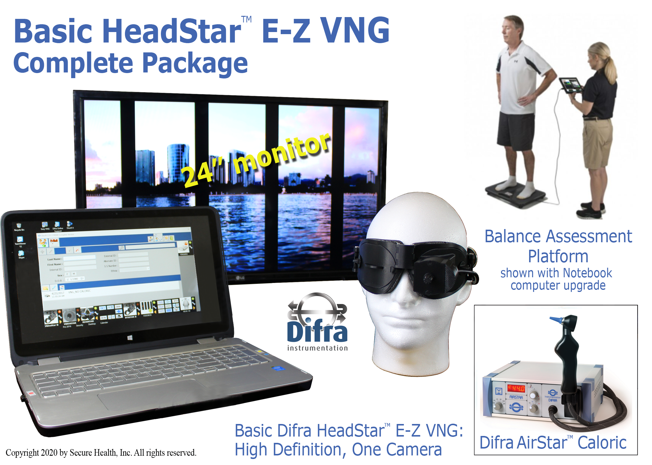 HeadStar E-Z VNG complete package, balance platform, caloric irrigator