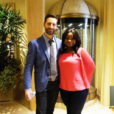Mandeville Films EP Todd Lieberman catching up with actress Octavia Spencer after the Insurgent junket panel at the Beverly Hills Four Seasons Hotel.