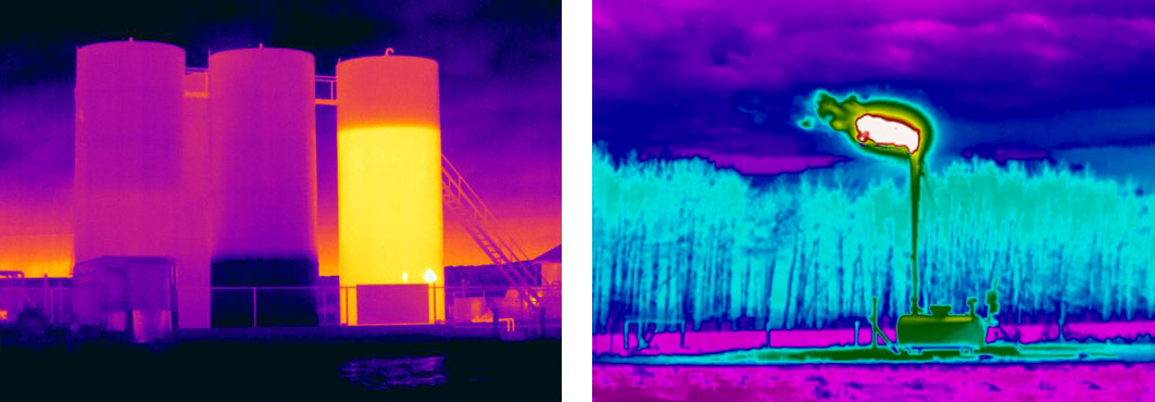Infrared images from industrial site testing