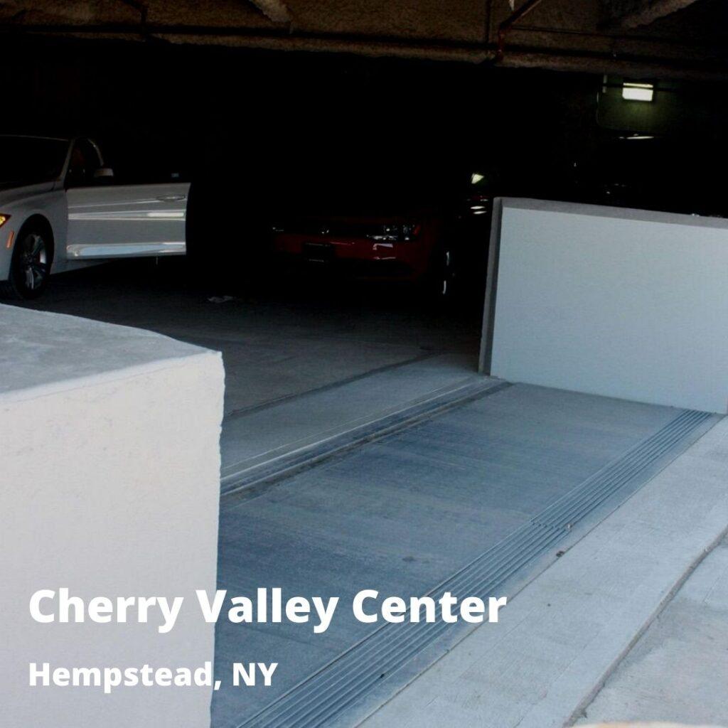 passive flood barrier at garage entrance