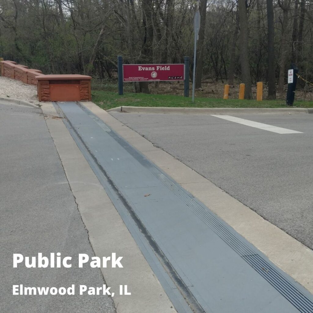long flood barrier at park