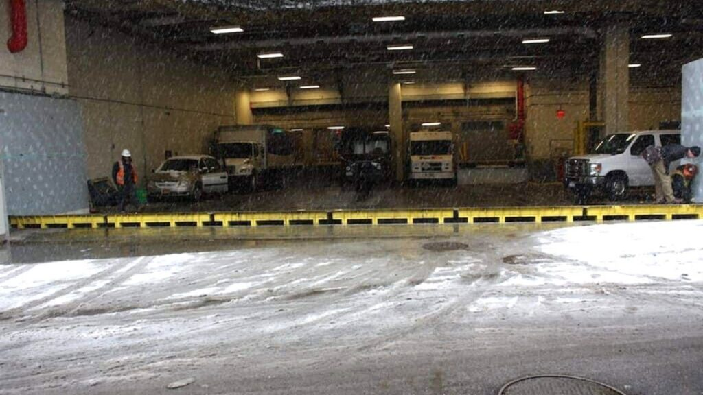 automatic flood barrier in snow