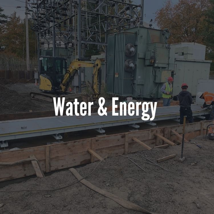 flood barrier installation at power plant