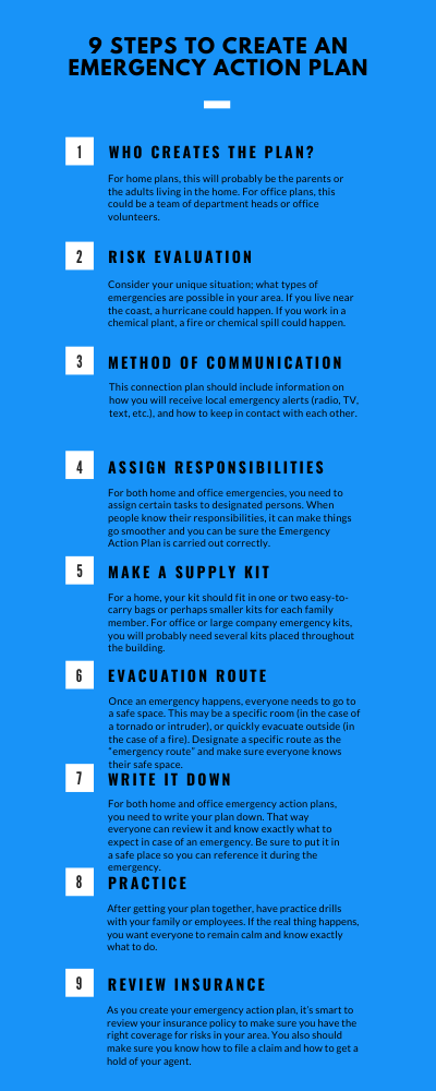 In order to create an effective emergency action plan, follow these 9 steps.