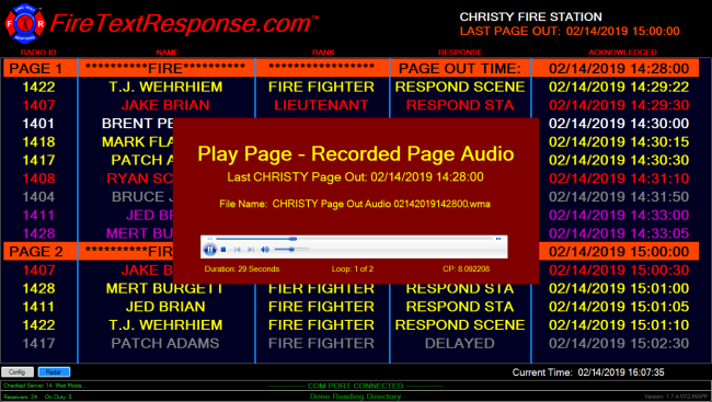 Our dispatch alert system also records all audio messages so that they can be replayed as needed.