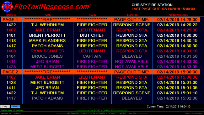 As all firefighters respond to the firefighter alerts, the station will receive fast, accurate updates of their status.