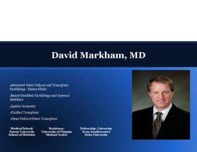Advanced Heart Failure: Role of Mechanical Assist Devices,Dr. David Markham