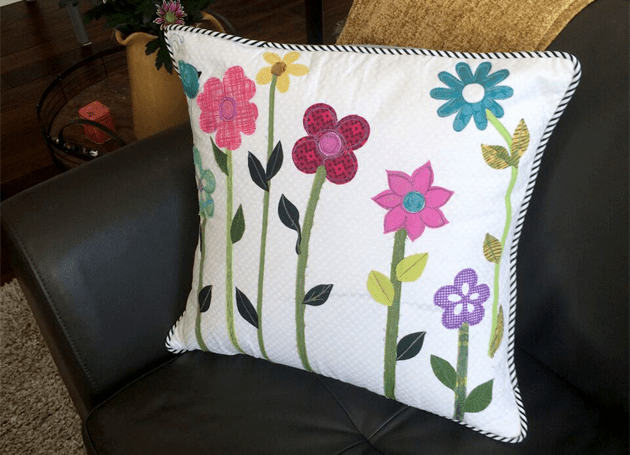 gift mom, thread painted pillow
