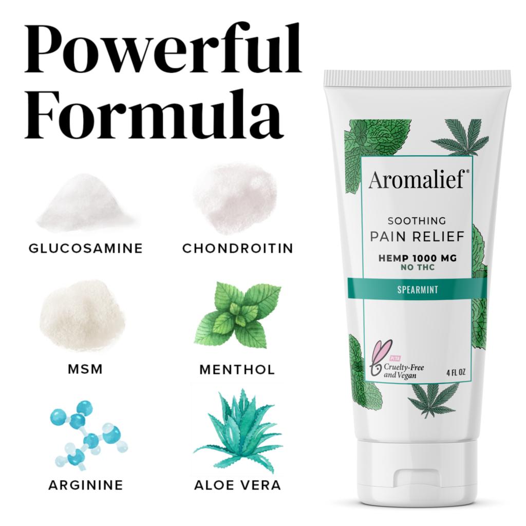 Aromalief Hemp Pain Relief Cream Spearmint Ingredients