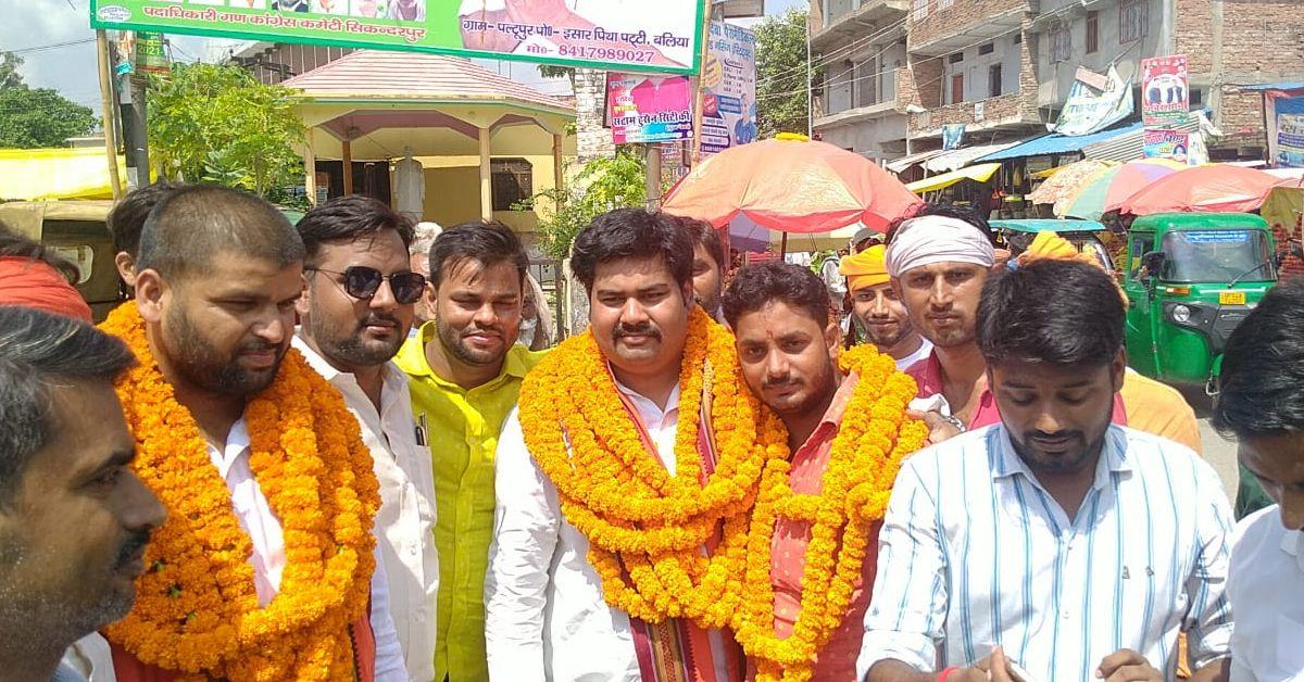 भाजयुमो प्रदेश कार्यसमिति के नवनियुक्त सदस्य पीयूष चौबे का सिकन्दरपुर में भव्य स्वागत