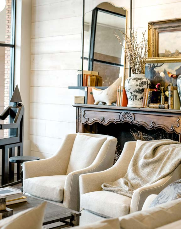Laws Interiors Furnishings-Double Chairs at Mantel