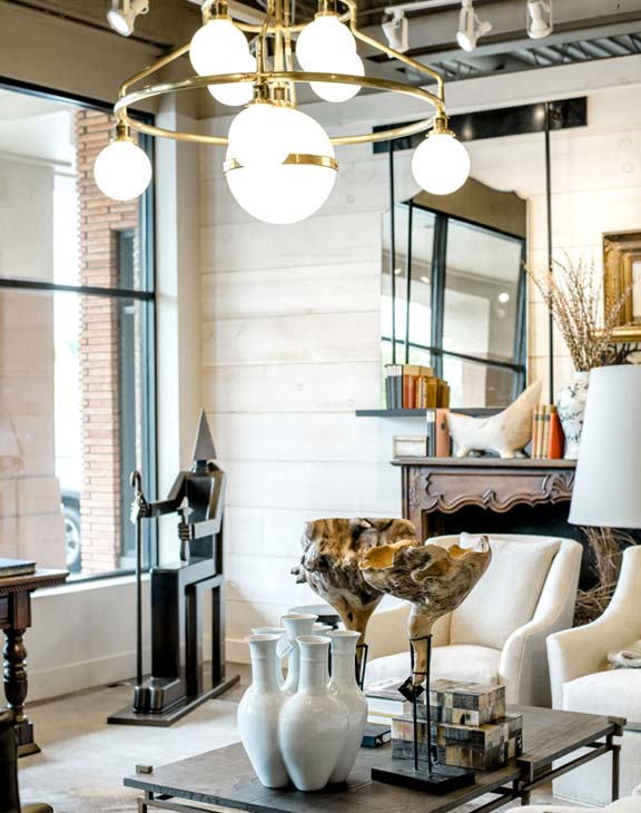 Laws Interiors Retail Lighting and Coffee Table Decor