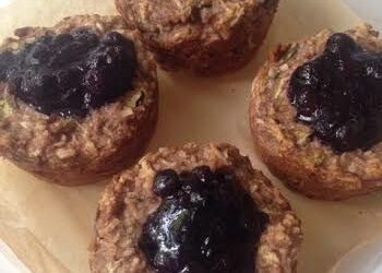 Zucchini Banana Muffins with Blueberry Compote
