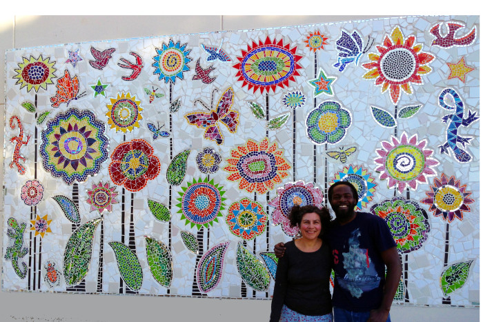 architectural mosaics co-creating mosaic art community art community mosaic glass mosaic glass mosaic mural mural art school art mosaic urban mosaic art youth mosaics  Hogan Middle School Mosaic Mural Completed!! hogan_me_andre_8x12-copy-700x467