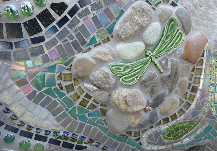 architectural mosaics ecological re-use glass mosaic how to make mosaics mosaic art mosaic sculpture Nature Mosaics utilitarian art  Dragonfly Mosaic Rock Bench Garden Seat dragonfly-mosaic-rock-bench-detail-rectangle-750-web-1-700x486