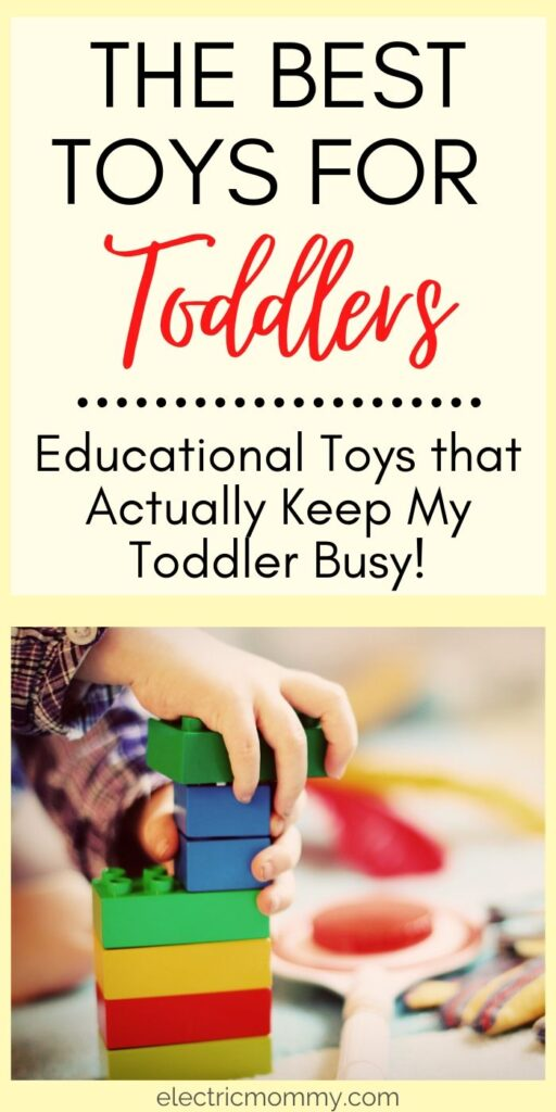 After the second baby came along, my toddler has had to learn to play more independently. Here are the toys we love that keep her busy for longer periods of time and that are educational too! | Educational Toys for Infants and Toddlers | Best Toys for Kids #besttoysfortoddlers #screenfreeparenting #besttoysforkids #besteducationaltoys #momlife #toddlermom #besttoysforpreschool