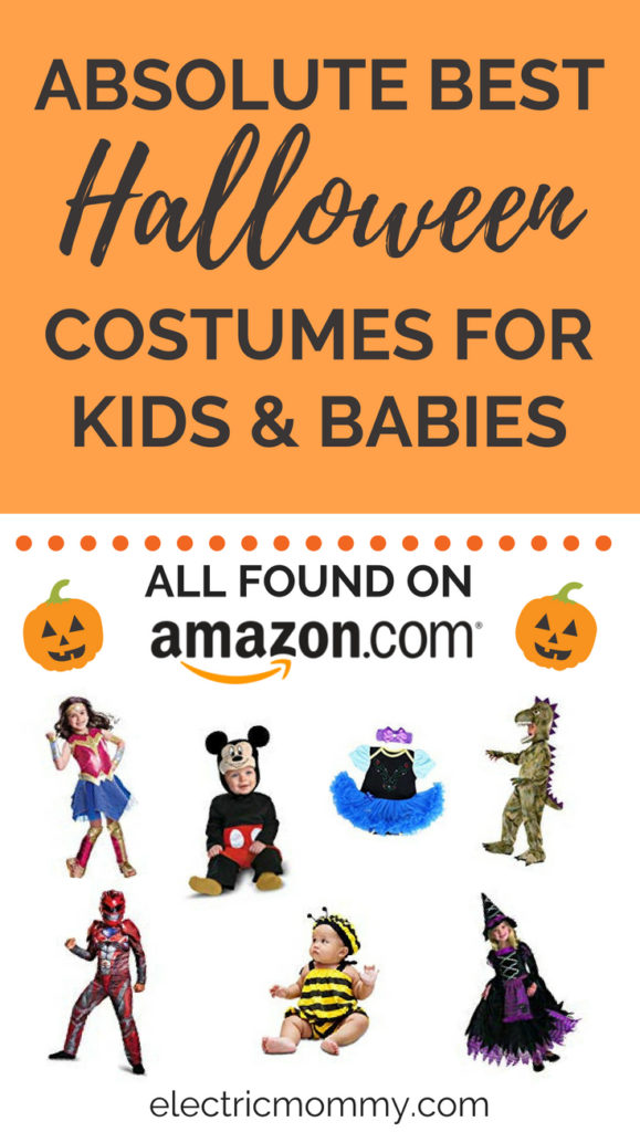 While I was looking for costumes for my girls. I decided to put together my research to help you out too! The best part of this list is everything can be found on Amazon, is a Prime item and has a rating of 4 stars or more.   Best Halloween Costumes for Kids   Best Baby Halloween Costumes   Baby Halloween Costumes   Disney Halloween Costumes   Toddler Costumes   Boys Halloween Costumes #halloween #halloweencostumes #kidscostumes #babycostumes #disneycostumes #halloweencostumesforkids
