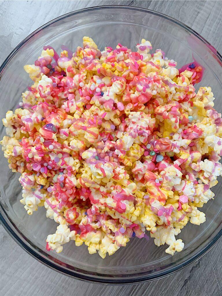 unicorn popcorn, unicorn food, unicorn party, pink and purple, girl mom