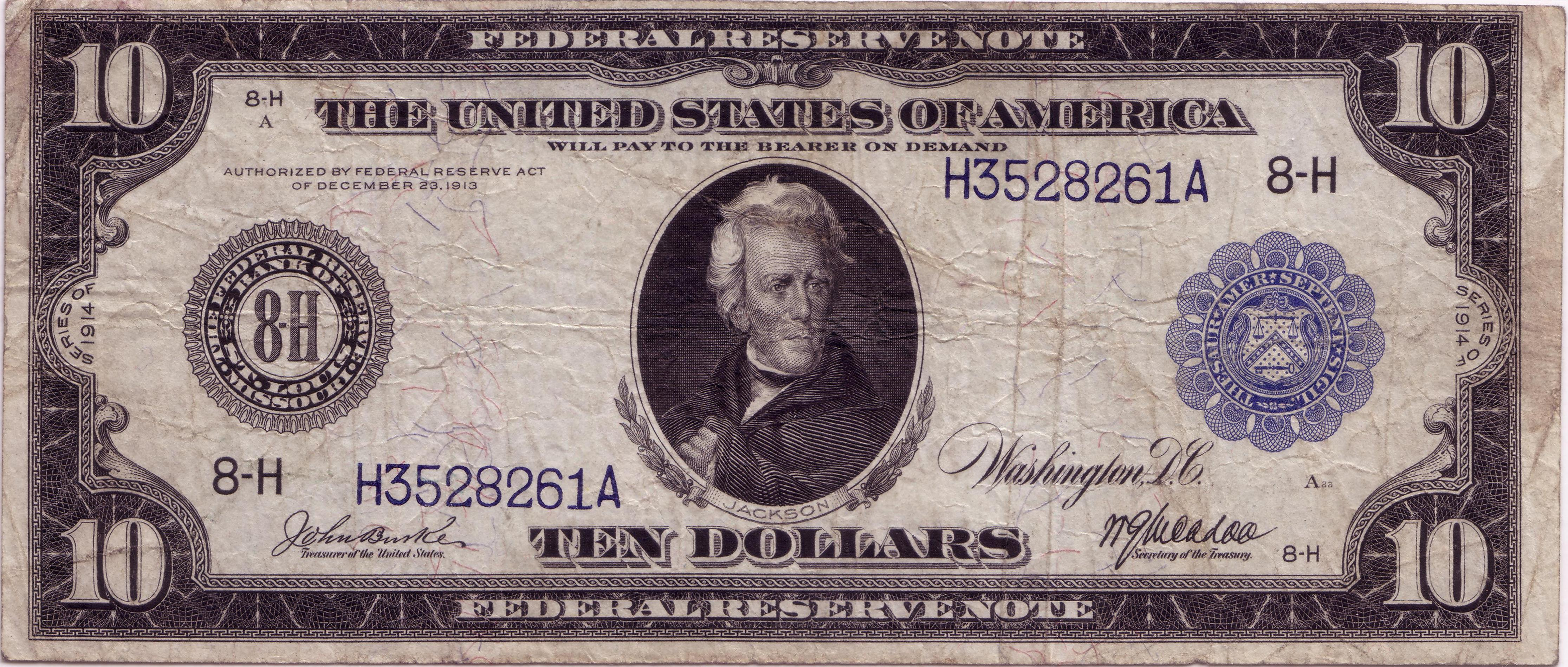 $10 1914 FRN Pre-Star Replacement Note