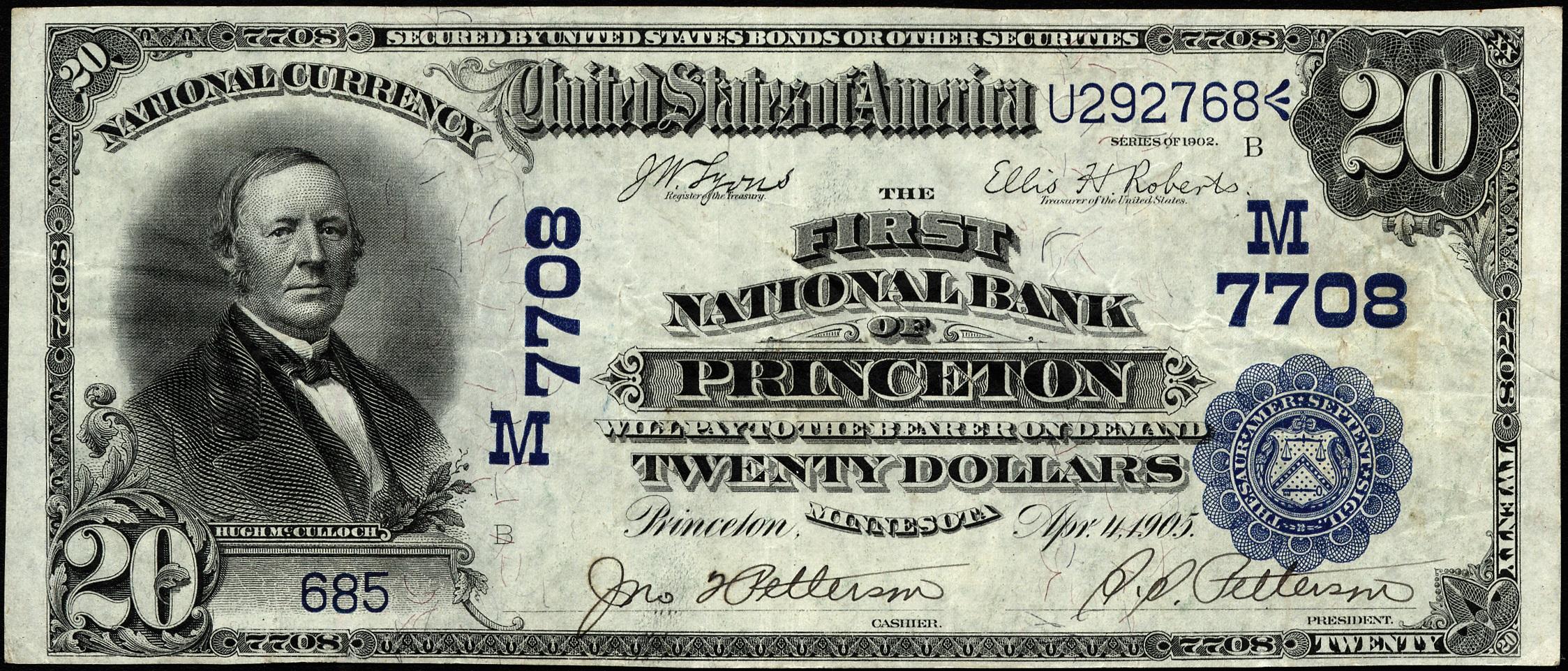 $20 1902 DB Princeton, Minnesota
