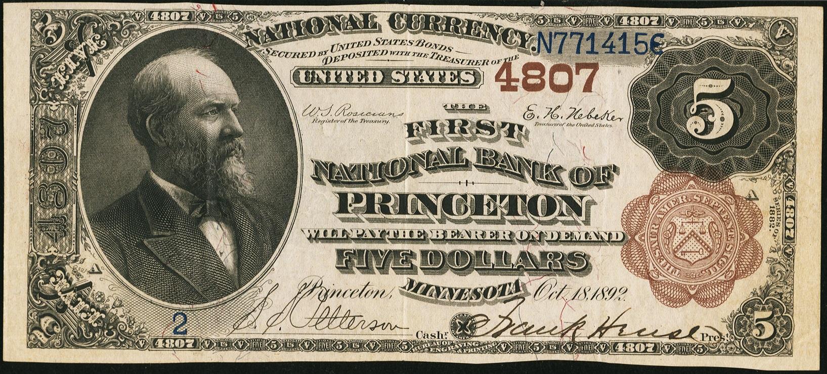 $5 1882 BB FNB Princeton Minnesota #2