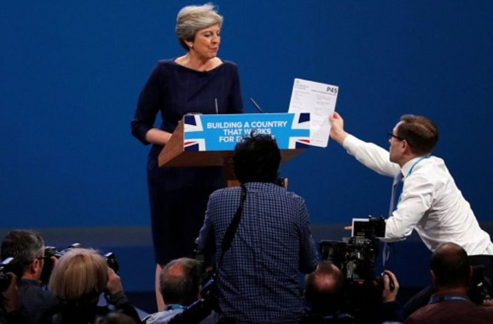Mrs May handed P45 during her Conference Speech