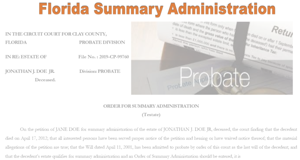 Petition for Summary Administration Florida Probate Forms