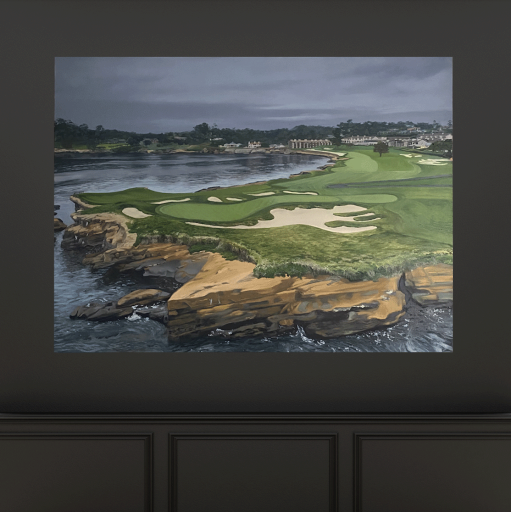 No 17 and 18 at Pebble Beach Golf Links painting, Aimee Smith Studios