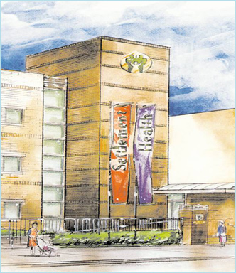 Settlement Health facility in East Harlem depicted in watercolor