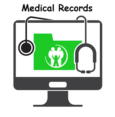 Computer screen with stethoscope and green file folder with settlement health logo